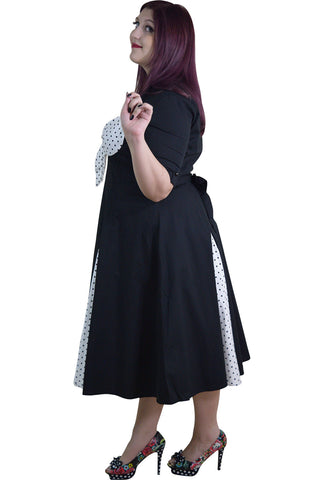 Vintage Rockabilly Black White Polka Dot Plus Size Dress With