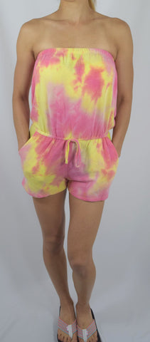 Women's Bohemian Summer Tube Top Strapless Multi-Color Tie Dye Romper w/ Pockets - Skelapparel