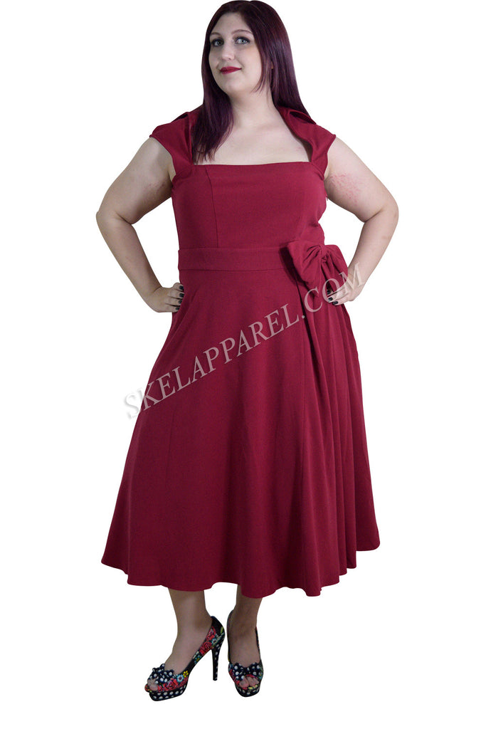 Rockabilly Vamp Plus 60's Vintage design Red Belted Party Dress with Bow Accent - Skelapparel