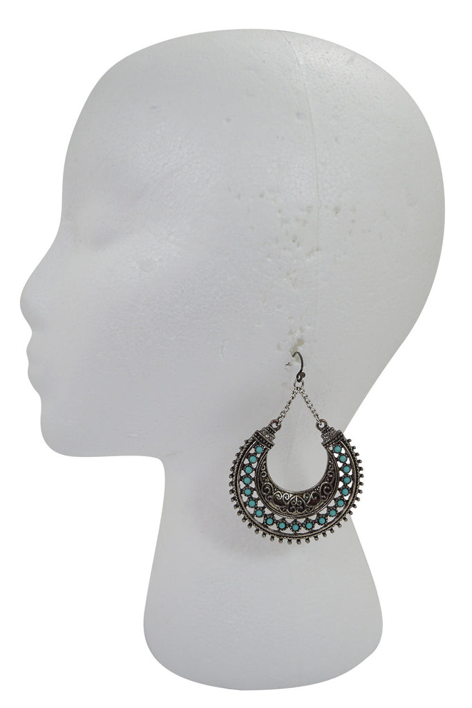 Gypsy Bohemian Turquoise accent Hoop Earrings - Skelapparel - 1