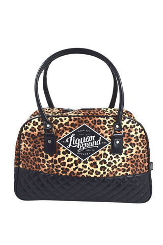 LiquorBrand Leopard Animal Print Rockabilly Punk Overnight Weekender Large Bag