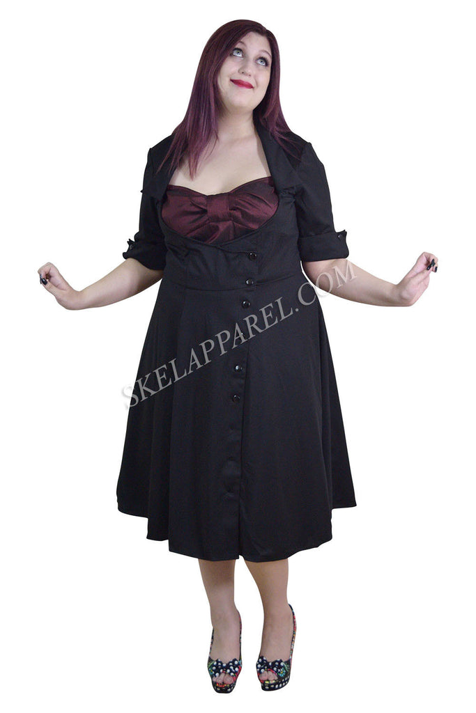 Plus Vintage 60's Bow Heart Side Button Two Tone Black & Burgundy Satin Dress - Skelapparel - 1