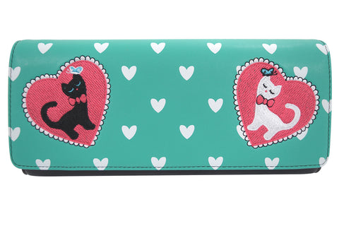 60's Retro Kitty Love Large Mint Green Clutch Wallet Crossbody Purse - Skelapparel