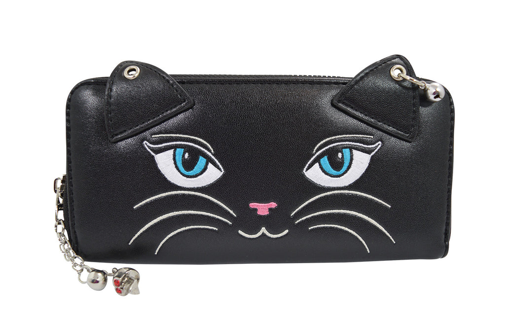 Banned Punk Rock Meow Black Cat Neko with bells Zip Around Wallet - Skelapparel - 1