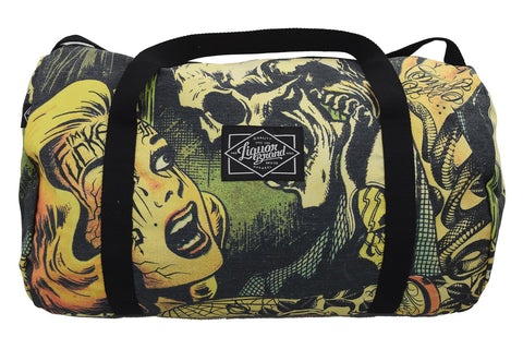 Liquorbrand Horror B Movie cartoon Oversized Duffel Bag - Skelapparel
