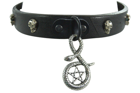 gothic pentagram snake leather choker necklace