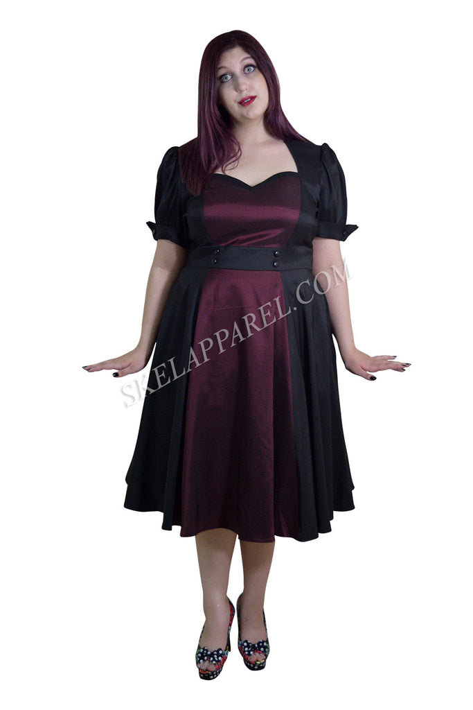 Plus Size Vintage 60's Queen of Hearts Two Tone Black and Burgundy Satin Dress - Skelapparel - 1