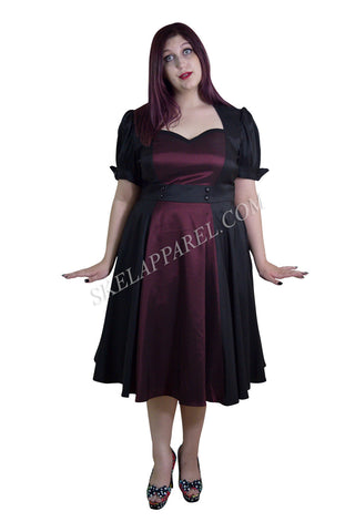 Plus Size Vintage 60's Queen of Hearts Two Tone Black and Burgundy Satin Dress - Skelapparel