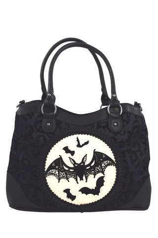 Lost Queen Night Bat Flying Bat Velvet Flocked Cameo Handbag