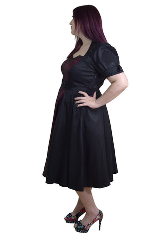 4de9db433310 Plus Size Vintage 60's Queen of Hearts Two Tone Black and Burgundy Satin  Dress - Skelapparel