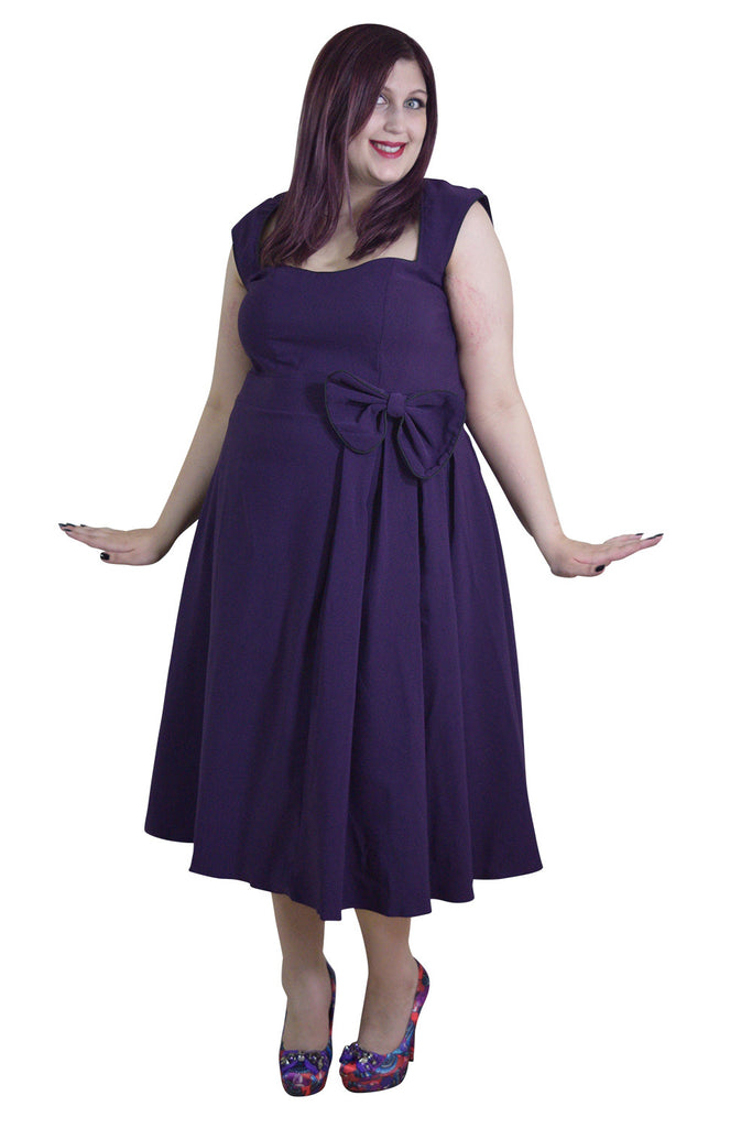 Plus size 60's Classic Vintage Purple Flare Party Dress with Bow - Skelapparel - 1