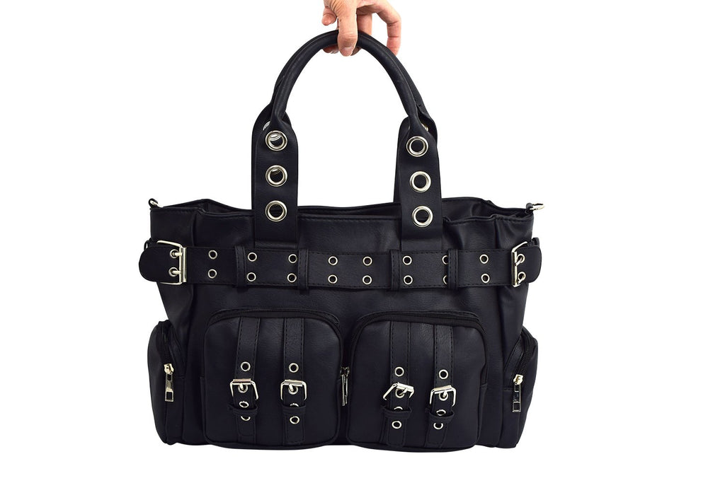 Poizen Industries EVE Bag Gothic Punk Emo Black Gothic Bag With Pockets - Skelapparel