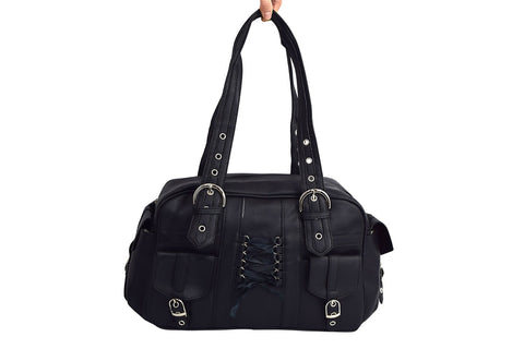 Poizen Industries Becca Bag Gothic Punk Emo Black Satchel Bag With Pockets