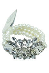 Wedding Shower White Faux Pearl Multi-strand with Crystal Flower Acceent Bracelet - Skelapparel - 2