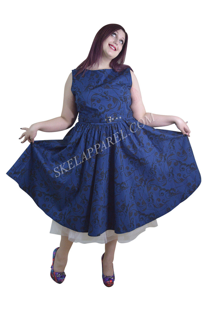 Plus Vinatge Victorian Swirl Dark Blue Boat Neck Flare Party Dress - Skelapparel