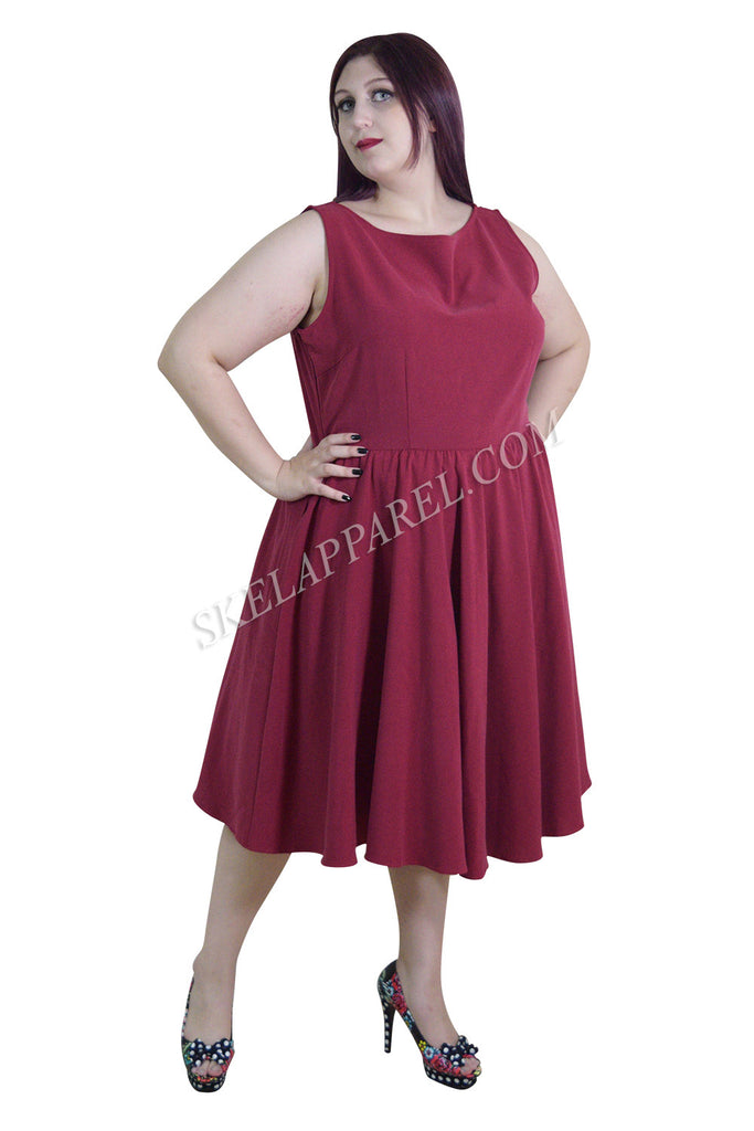 Plus 60's Vintage Design Red Sleeveless Flare Swing Party Dress - Skelapparel - 1