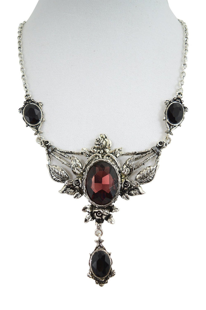 Restyle Wild Roses Gothic Victorian Evening Statement Necklace Roses & Wine Stone - Skelapparel
