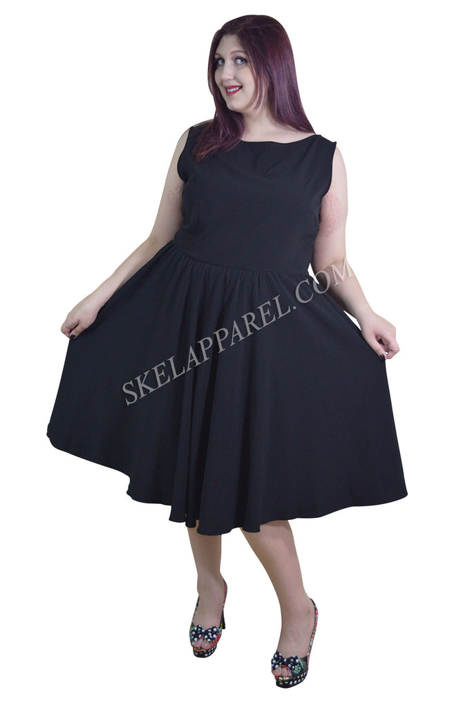 Plus 60's Vintage Design Black Sleeveless Flare Swing Party Dress - Skelapparel - 1