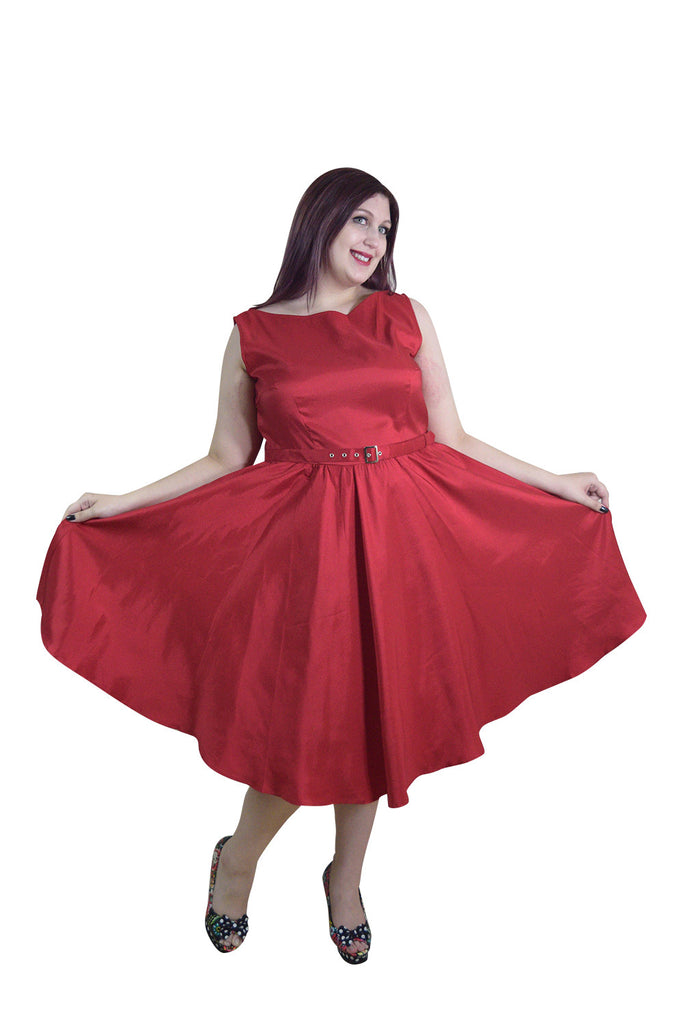 Plus Vintage Rockabilly First Love Red Satin Flare Party Dress - Skelapparel - 1