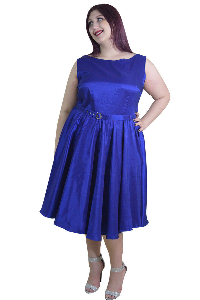 Plus Rockabilly Pinup Deep Blue Satin Cocktail Flare Party Swing Dress - Skelapparel - 1