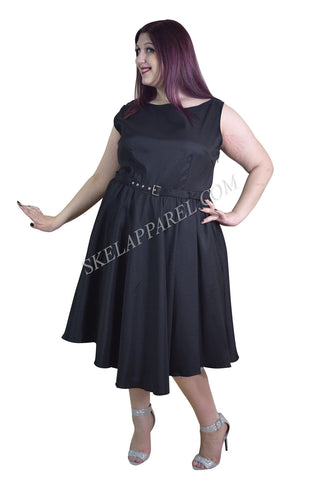 Plus Audrey Hepburn Style 60's Vintage Design Black Satin Flare Swing Party Dress - Skelapparel