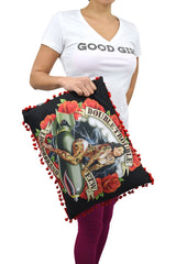 Liquorbrand Double Trouble Pin-Up Girl Rockabilly Punk Couch Throw Pillow - Skelapparel