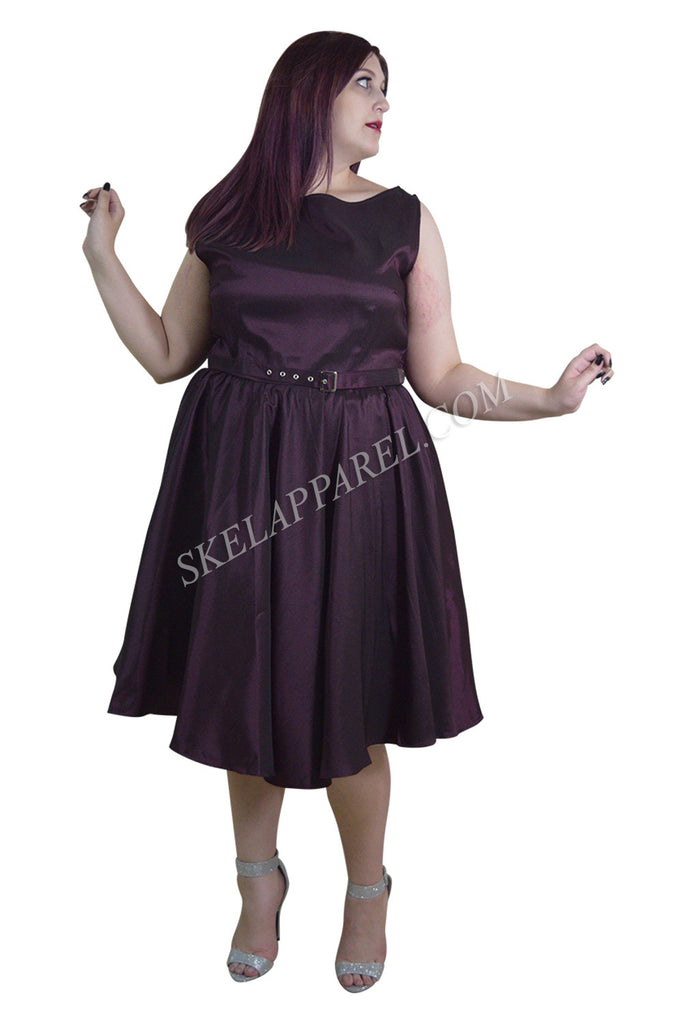 Skelapparel Plus Size 60's Vintage Design Purple Satin Flare Swing Dress - Skelapparel