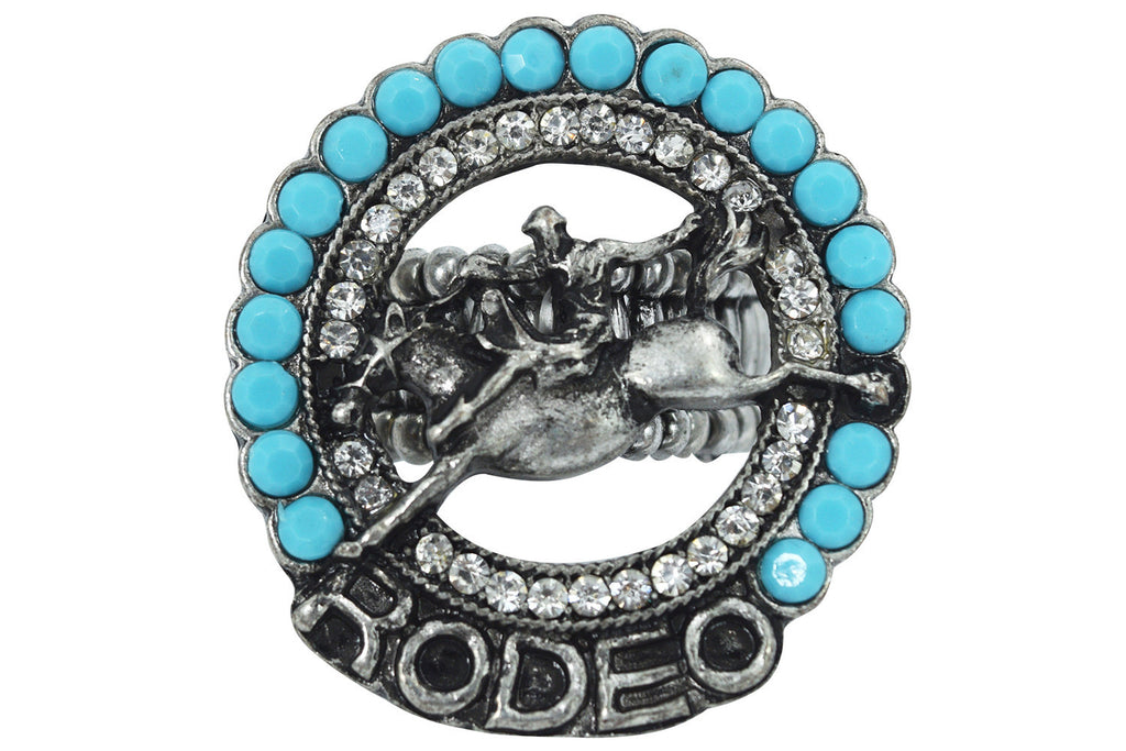 Western Cowgirl Cowgirl Rodeo Girl Concho Turquoise Beads Statement Ring - Skelapparel