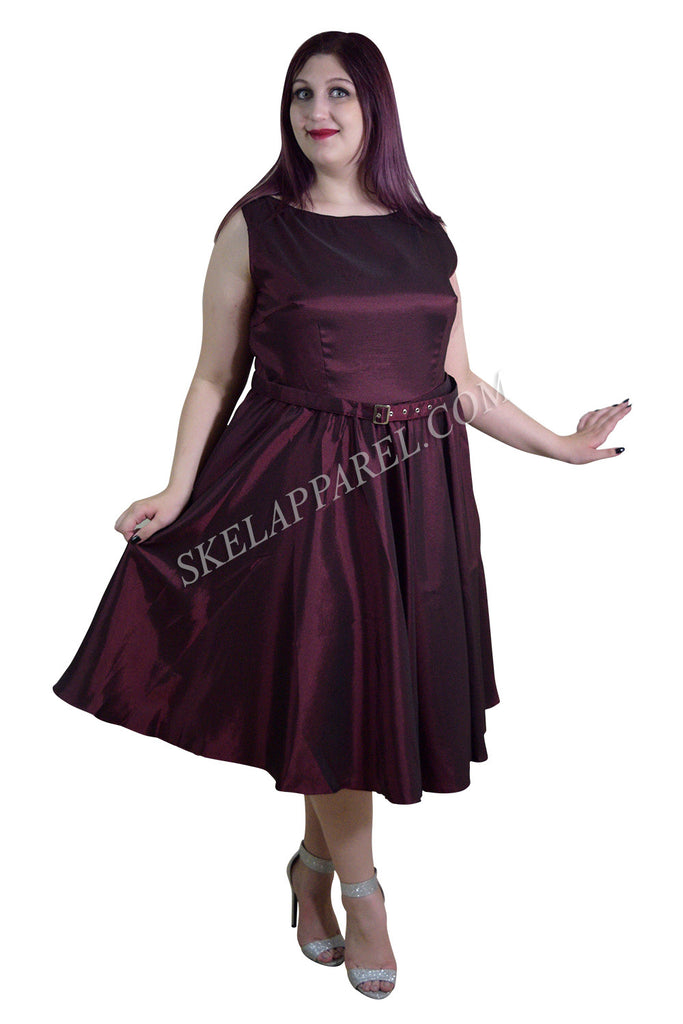 Plus 50's Vintge Style Maroon / Burgundy Satin Swing Dress - Skelapparel