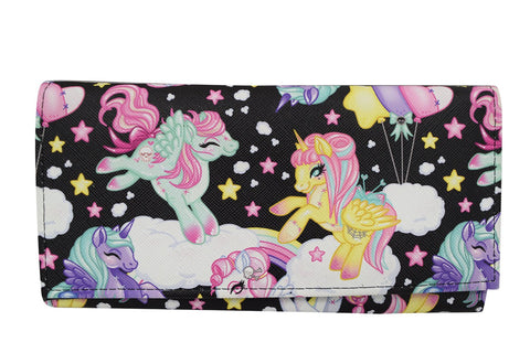 Liquor Brand Goth Loli Kawaii Rainbow Unicorns Pony Bi-Fold clutch Wallet - Skelapparel