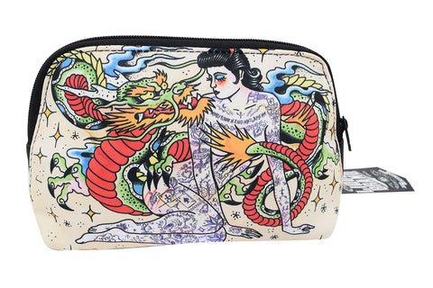 Liquorbrand Japonski Traditional Japanese Dragon and Tattooed lady Tattoo Art Cosmetic Bag Pouch - Skelapparel