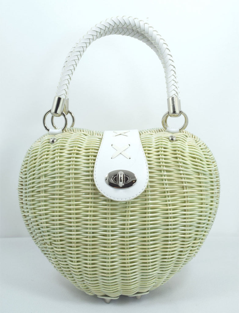Vintage 50's Ivory Heart Shaped Wicker basket Handbag - Skelapparel