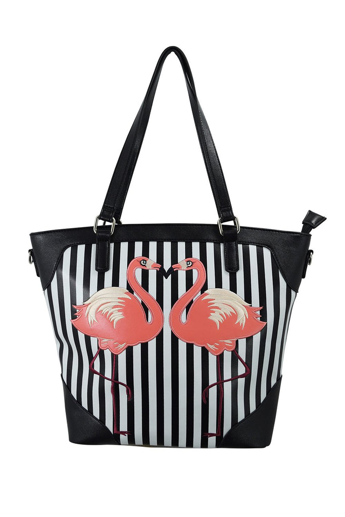 Retro Pink Flamingo Black White Striped Tote Bag - Skelapparel