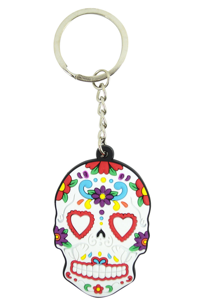 Day Of The Dead Mexican Flower Sugar Skull Rubber Key Ring KeyChain - Skelapparel - 1