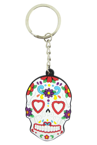 Day Of The Dead Mexican Flower Sugar Skull Rubber Key Ring KeyChain - Skelapparel