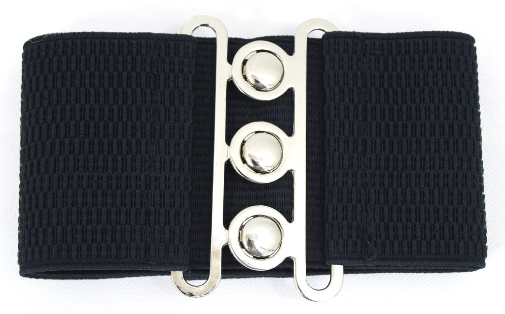 Banned Apparel Vintage Silver Retro Clasp Elastic Wide Stretch Waist Belt - Skelapparel