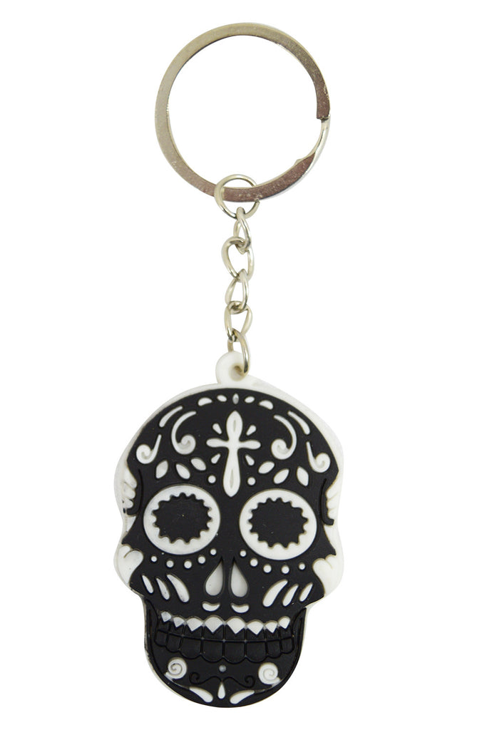 Day Of The Dead Mexican Sugar Skull Rubber Key Ring KeyChain - Skelapparel - 1