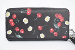 Liquorbrand Pinup Retro Cherry Daisy Zip Around clutch wallet