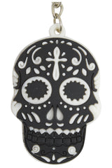 Day Of The Dead Mexican Sugar Skull Rubber Key Ring KeyChain - Skelapparel - 2