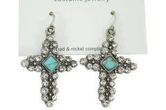 Western Cowgirl Bohemian Crystal with Turquoise accent Cross Earrings (B30) - Skelapparel