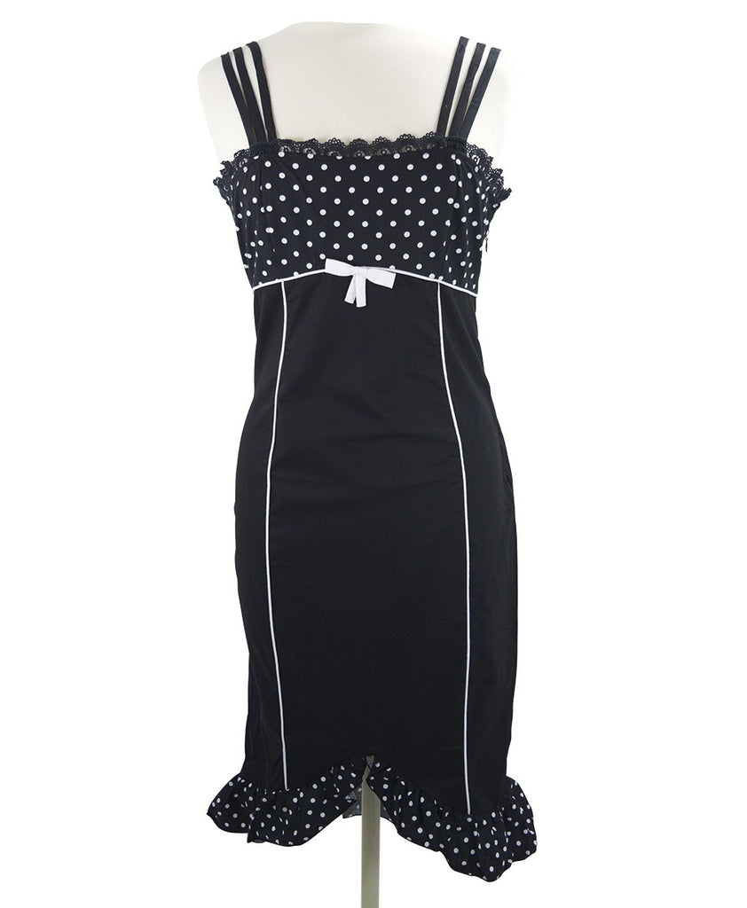 50's Vintage Polka Dot Corset lace up back Two tone Pencil Dress - Skelapparel