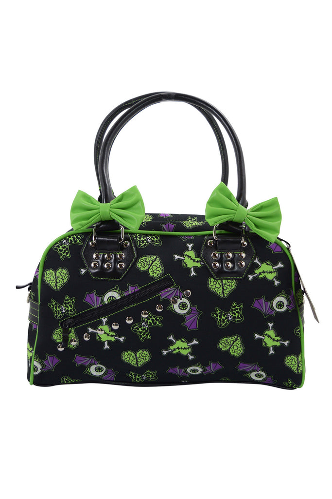 Banned Apparel Spooky Creepville Zombie Horror Love Goth Emo Bowler Purse - Skelapparel