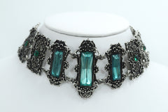 Gothic Victorian Green stones choker necklace