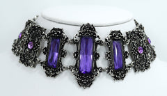 Purple stone gothic choker necklace