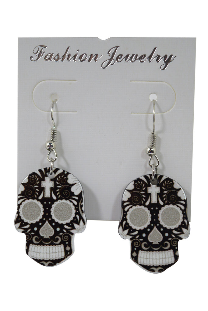 Skull Love Dia De Los Muertos Day Of The Dead Sugar Skull Earrings - Skelapparel - 1