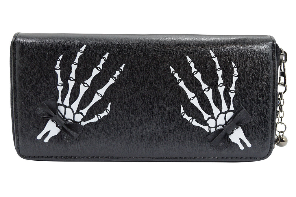Banned Gothic Lolita Skeleton Hands with Black Bow Zip Around Wallet - Skelapparel - 1