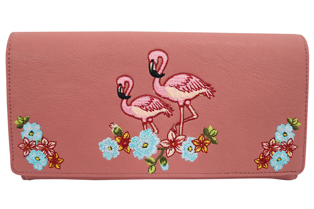 Tropical Island Pink Flamingo Embroidered Clutch Wallet - Skelapparel