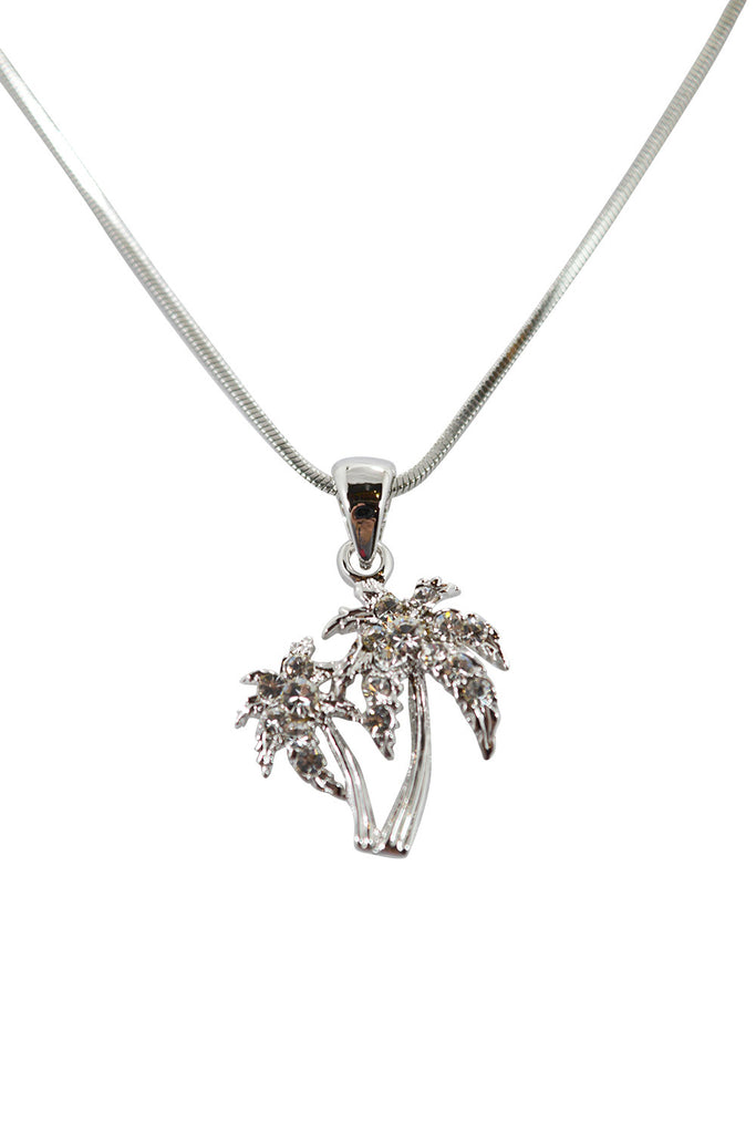 Waikiki Hawaii Tropical Beach Palm Tree with Crystals mini necklace - Skelapparel