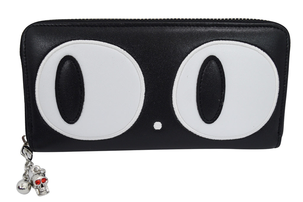 Nu goth Black cat big eyes wallet