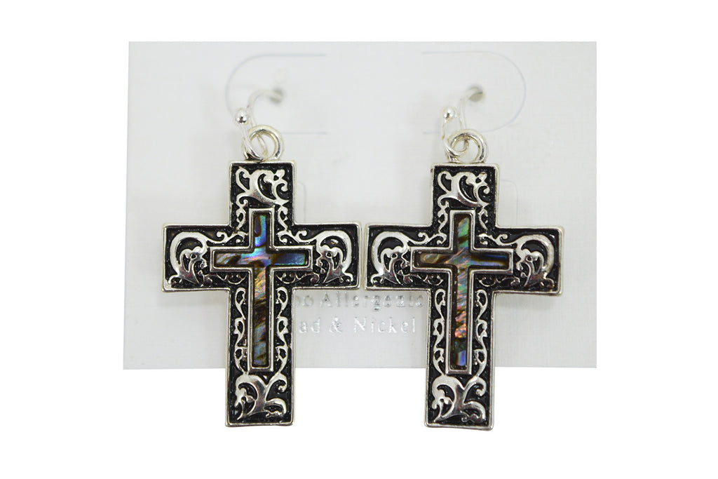 Vintage Old Cross Design Double Cross Accent Earrings - Skelapparel